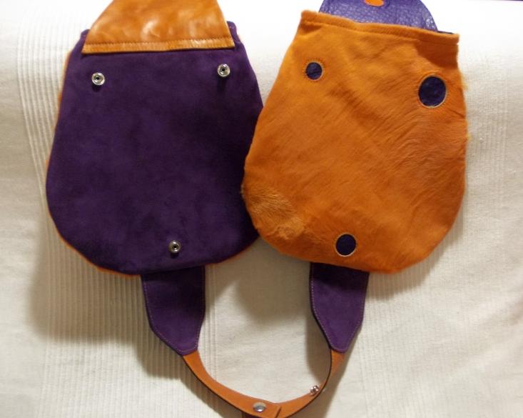 Pois arancio e viola. Cavallino e struzzo.